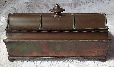 Antique Arts & Crafts Metal Desk Tidy, Inkwell With Glass Inkwells Unusual