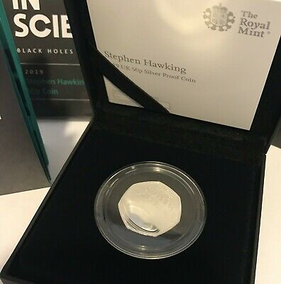 ROYAL MINT STEPHEN HAWKING 2019 Silver Proof 50p Pence Coin LOW MINTAGE SOLD OUT