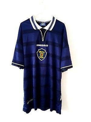 Scotland Home Shirt 1998. XL. Umbro. Blue Adults Short Sleeves Football Top Only