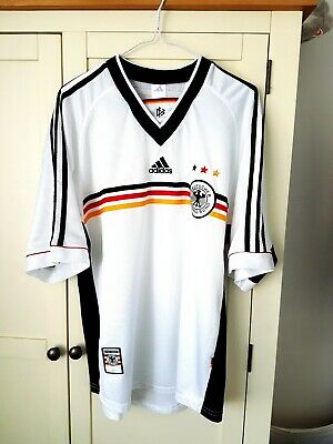 Germany Home Shirt 1998. Large. Adidas. White Adults Short Sleeves Football Top.
