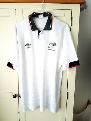 Derby County Home Shirt 1990. Large. Umbro White Adults Short Sleeves Top Only L