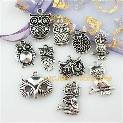 10 New DIY/ Animal Owl Birds Charms Tibetan Silver Tone Pendants