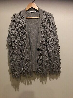 Mossman S Oversized Grey Long Wooly Mammoth Knit Cardigan Fluffy Tassles