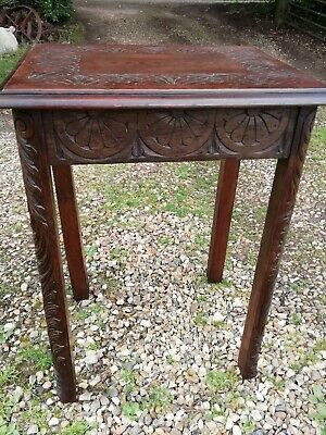 Antique Victorian Carved Oak Hall Lamp Side Table Arts and Crafts Circa 1900