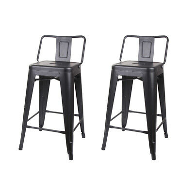 Remarkable Industrial Style 24 Low Back Black Metal Bar Stool Ibusinesslaw Wood Chair Design Ideas Ibusinesslaworg