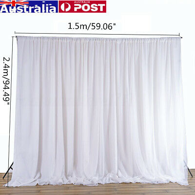 2.4M White Curtain Wedding Party Backdrop Silk Drapes Draping Background Decor