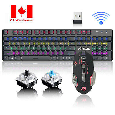 CA Colorful LED Backlit USB Wireless PC Rainbow Gaming Keyboard and Mouse Combo