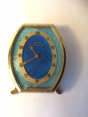 French A' L' Emeraude Nice Art Deco Desk Clock 8 Day Movement Fully Working