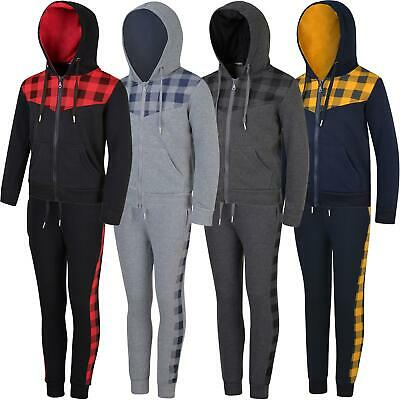 Kids Checked Print Detail Tracksuit Boys Contrast Hood Girls Zip Fastening 3-14Y