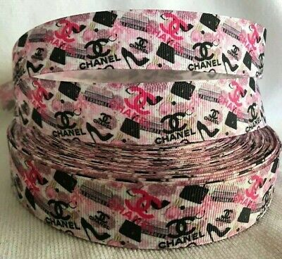 """Chanel grosgrain ribbon 1"""" wide sold by 2 M - Craft - Hair bows-Lanyards etc"""