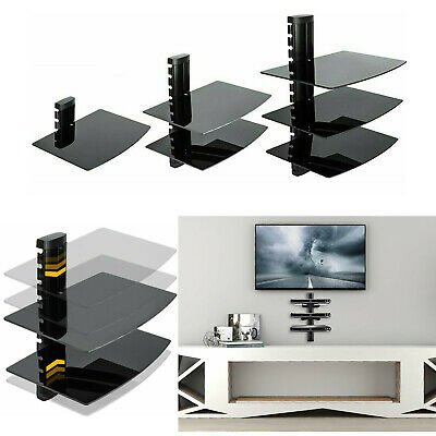 1/2/3 Wall Mount Floating Tempered Glass DVD Shelf TV Stand Box Game CD Storage