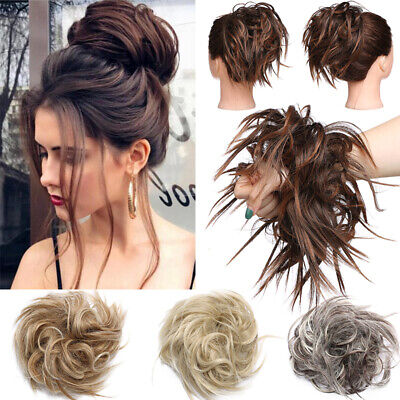 UK Curly Messy Bun Hair Piece Scrunchie Updo Cover Ultra Thick Hair Extensions