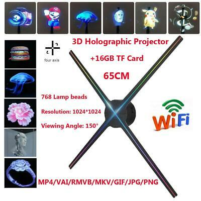 3D WiFi Holographic Projector Display Fan Hologram Advertising Machine 16G TF