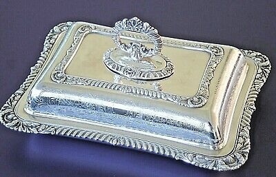 Antique silver plated rectangular very ornate chased entree serving dish
