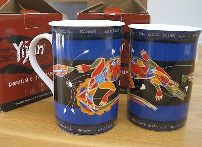 Pair Of Boxed Yijan Aboriginal Artist Fine Bone China Mugs