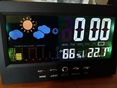 Brilliant Alarm Clock/Weather Display/LCD Nightlight Station - Mains OR Battery