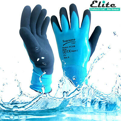 Fully Coated Latex Grip Gloves Wet Work Breathable Waterproof Aqua proof NEW