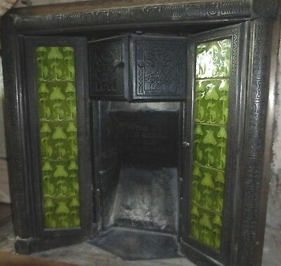 1897 Aesthetic Gold Medal Eagle cast iron fire grate,green Majolica/Voysey tiles