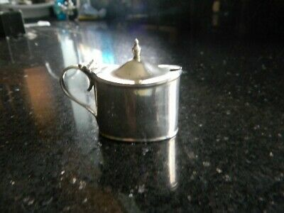 WALKER & HALL Hallmarked Silver Lidded Mustard Pot Sheffield With Blue Glass