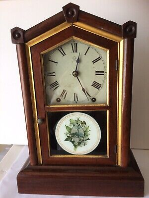 Antique Seth Thomas Usa Chiming Mantle Clock Working Order With Key Vgc For Age