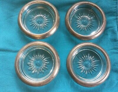 Vintage Italian Glass and Silver Coasters Set Of 4