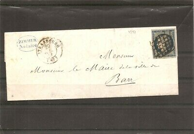 BAS-RHIN YT 4 / lettre cover brief 1851 LAC obl grille STRASBOURG