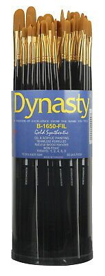 Dynasty  B-1650 Art Education Filbert Paint Brushes, Classroom Cylinder, Set of