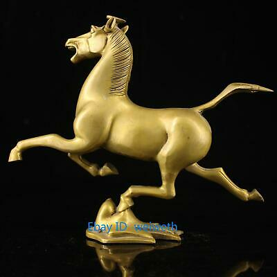 Old Exquisite Brass Collectible Handmade Carving Horse Fly Swallow Statue