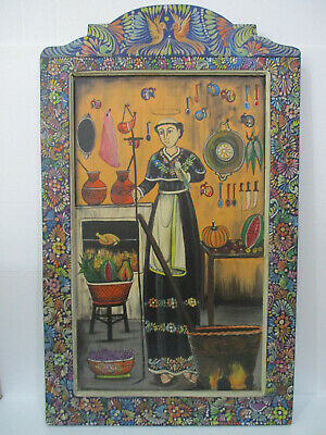 "43"" XL Hand painted wood retablo with Saint Pascual Scene, mexican folk art"