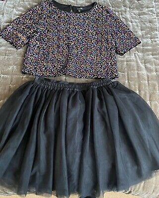 Girls Party Outfit Tutu Skirt Glitter Top 10-12 Years