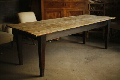 8ft 19th Century farmhouse table with tapered legs