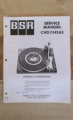 BSR Turntable Service Manual Model C142/C142A3
