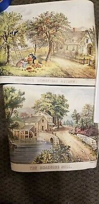 5 Currier & Ives Vintage Litho Prints Stapco NY 9x12