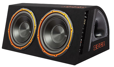 "Edge Twin 12"" Car Audio Active Subwoofer Amplified Box 1800w"