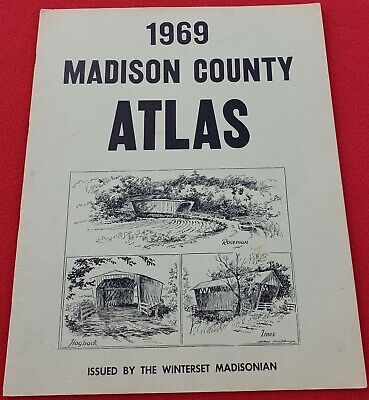 1969 Madison County Iowa Atlas - Madison County Covered Bridges Cover
