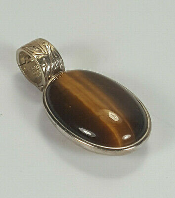 Vintage Signed Wk Sterling Silver Engraved Double Sided Pendant With Tigers Eye