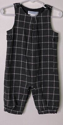 JANIE & JACK Boys Layette long coverall Romper grey plaid Sz 3-6m Brushed Cotton