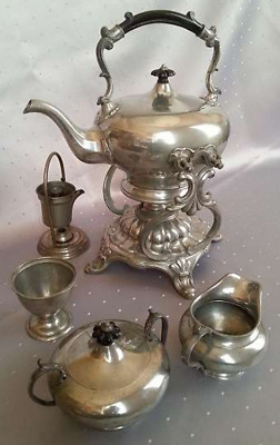 Victorian 5pcs SET Pewter Samovar Teapot Shaw & Fisher Sheffield ca.1880 England