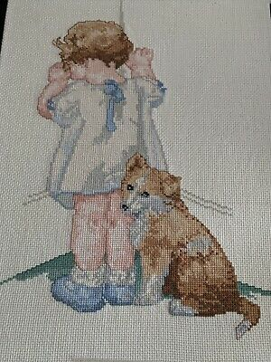 """BUCILLA  Counted Cross stitch Completed Finished Large 11""""x 14"""" Bessie Gutmann"""