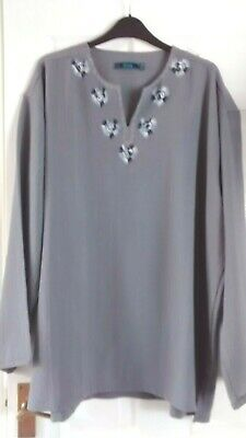 Grey Embroidered Loose Extra Large Top Size 48/50
