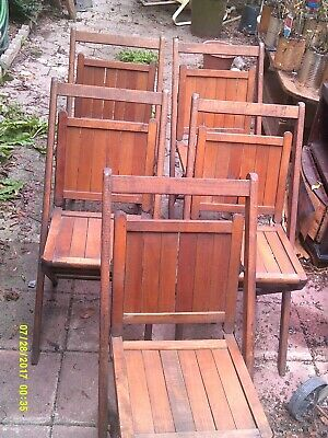 VINTAGE LOT OF 5 SIMMONS Co. PAT #1 SOLID OAK WOOD FOLDING CHAIRS LOCAL PICKUP
