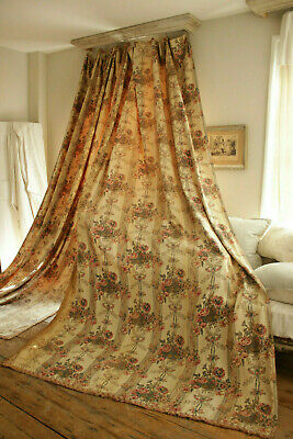 Pair of Curtains Antique French floral and stripe printed linen drape set w/trim