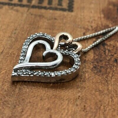 Vintage Sterling Silver Necklace 925 Marked Sun Heart Two Tone DIAMOND pendant