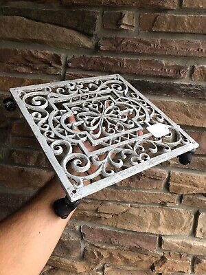 Antique Cast Iron Wall, Floor Grate Vent on Caster Wheels