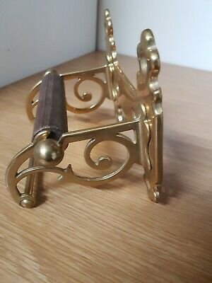 Solid Brass Genuine Antique Ornate Toilet Roll Holder And Matching Towel Rail
