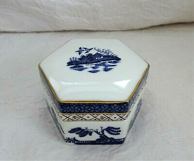 Royal Doulton Booths Real Old Willow Hexagonal Trinket Pot