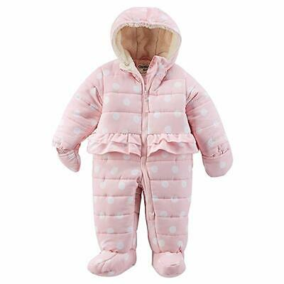 OshKosh B'Gosh Infant Girl's Pink Polka Dot Hooded Peplum Bunting