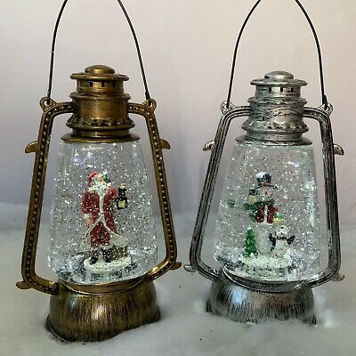 Spinning Glitter Water Christmas Light Up Lantern Vintage Snow Globe