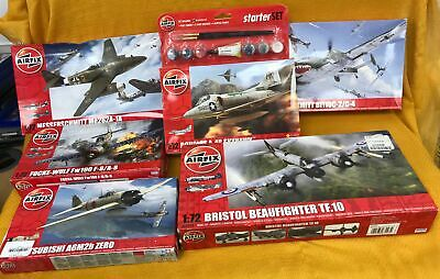 Collection/Job Lot Of 6 Various Airfix Model Making Kits Includes Paint Set #986