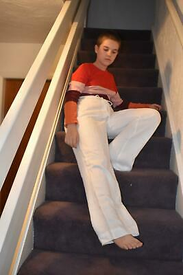Vintage White Linen Trousers by Jaeger Size UK 10